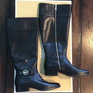 Michael Kors black riding boots, wide shaft
